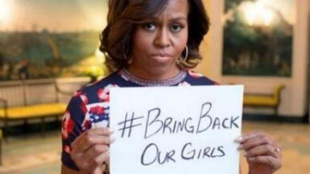 First Lady Michelle Obama in a Twitter photo appealing for release of Nigerian girls.