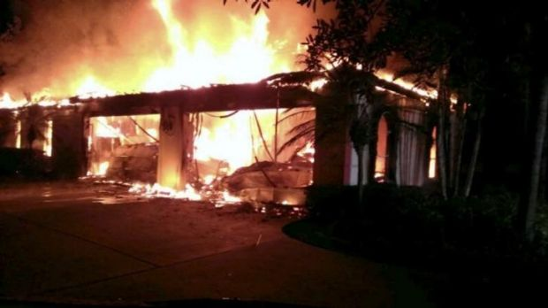 Flames engulf the Florida mansion owned by the former tennis star.