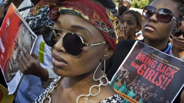 Global campaign: South Africans protest in solidarity with the schoolgirls abducted by the Nigerian Islamist group Boko ...