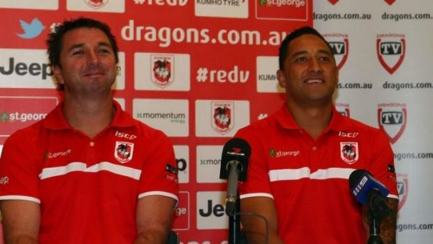 Dragon's coach Steve Price introduces Benji Marshall to the media.