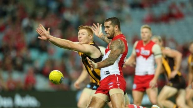 Buddy good show: Lance Franklin takes on his old team Hawthorn on Friday night.