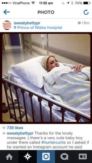 In touch: Roxy Jacenko leaving the delivery room after the birth of Hunter Curtis, from her Instagram feed.