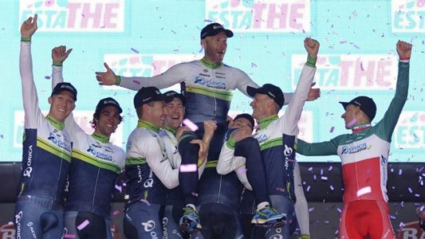 Strong start: Orica-GreenEDGE riders let off steam after winning the first stage of the Giro d'Italia.