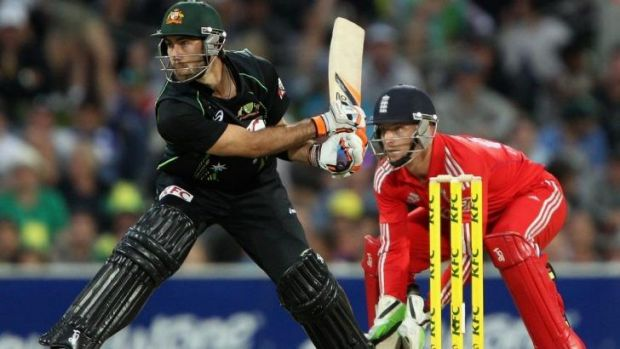 Innovator: Glenn Maxwell plays a reverse sweep.