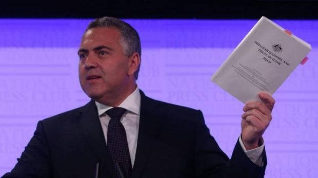 Treasurer Joe Hockey with the Mid-Year Economic and Fiscal Outlook at the National Press Club in Canberra in December.