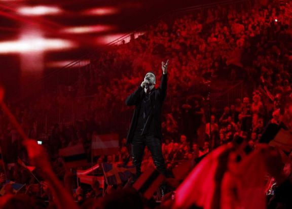 "Singer Andras Kallay-Saunders representing Hungary performs the song ""Running"" during the grand final of the 59th ..."