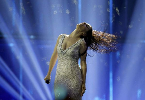 "Singer Ruth Lorenzo representing Spain performs the song ""Dancing in the rain"" during the grand final of the 59th ..."