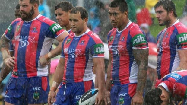 Miserable afternoon: Knights players look dejected.