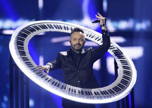 Ovi of Paula Seling & Ovi representing Romania performs during the Eurovision Song Contest 2014 Grand Final.