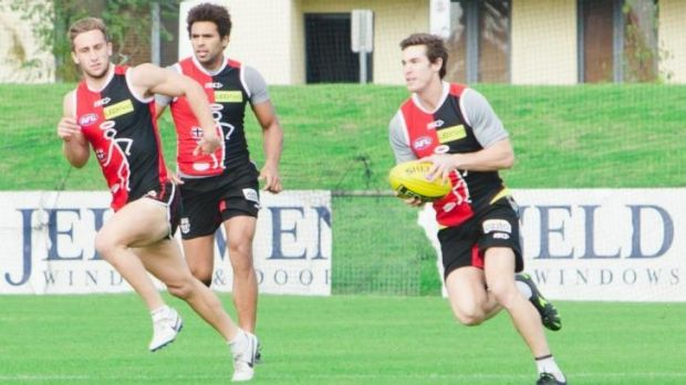 Lenny Hayes (right) at a Saints training session on Sunday.