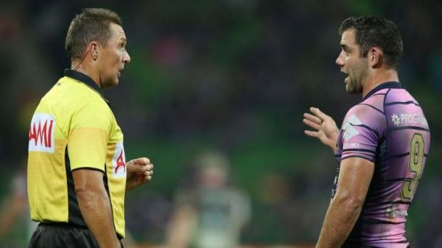 Now listen: Storm skipper Cameron Smith takes issue with one of the referees on Saturday.