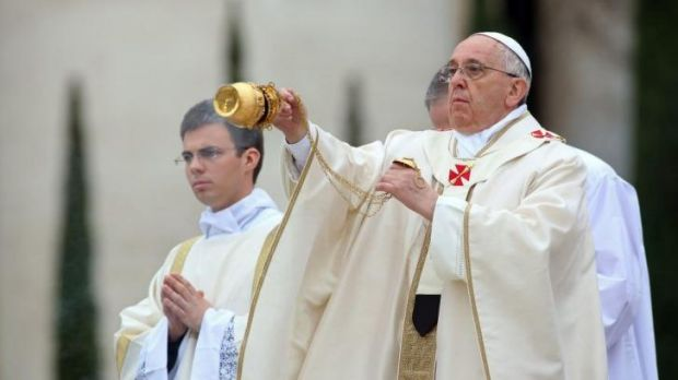Doing battle with the Devil: Pope Francis.