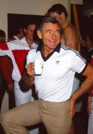 Tom Hafey in the changerooms prior to a VFL match in Melbourne.