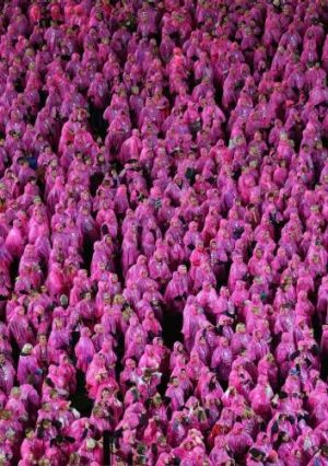 A sea of pink ahead of the Field of Women Breast cancer awareness game at the MCG.