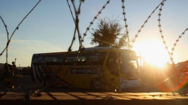 Advance Australia: the team bus in South Africa four years ago.