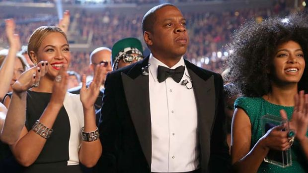 Beyonce, rapper Jay-Z and singer Solange Knowles attend the 55th Annual GRAMMY Awards at STAPLES Center on February 10, ...