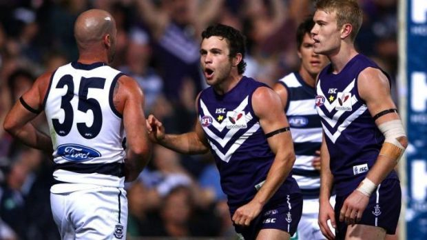 Hayden Ballantyne gives Paul Chapman some unsolicited advice when Fremantle played Geelong in round one in 2012.