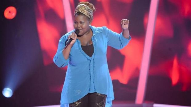 Powerful and soulful ... Thando Sikwila during her blind audition. She chose Kylie Minogue.