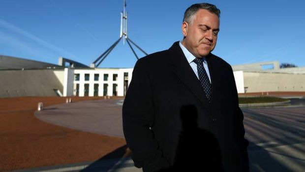 Treasurer Joe Hockey during breakfast television interviews on the front lawn of Parliament House this morning.