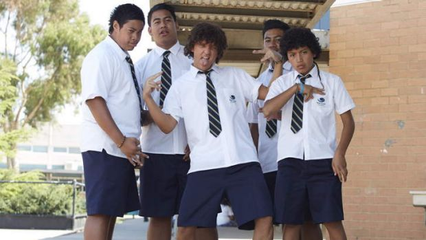 Leader of the pack: Chris Lilley's Jonah Takalua (centre).