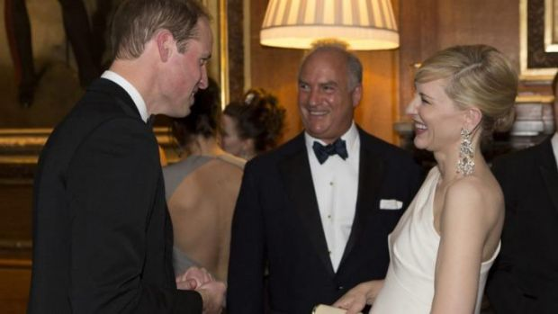 Stars align: Prince William mingles with Cate Blanchett at charity dinner.