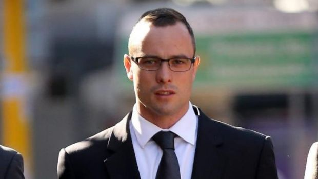 Oscar Pistorius arrives at court on Wednesday.