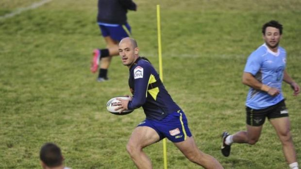 Raiders captain Terry Campese trains at Seiffert Oval on Wednesday night.