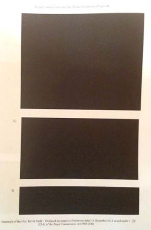 Heavily redacted: Kevin Rudd's statement.