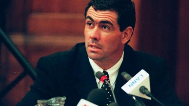 Former South African captain Hansie Cronje at his cricket corruption hearing in 2000.