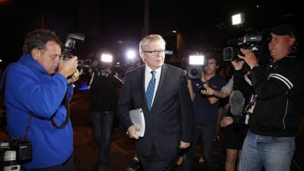 Former prime minister Kevin Rudd leaves the home insulation Inquiry on Wednesday night.