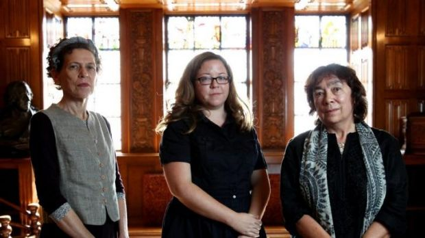 Three of the six authors who have been shortlisted for the Miles Franklin Award at the State Library of NSW: Cory ...