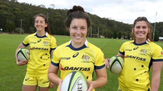 Australian women's sevens players Alicia Quirk, Emilee Cherry and Charlotte Caslick, who are  just two points behind ...