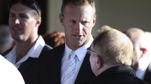 Proud nephew: Mark Gasnier at Reg Gasnier's funeral.