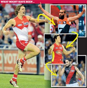 SLIDING DOORS: If Joe Daniher (far left) had chosen Sydney over Essendon, Lance Franklin (above) might have joined the ...
