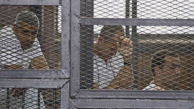 Facing terror charges ... from left, Mohammed Fahmy, Canadian-Egyptian acting bureau chief of Al-Jazeera, Australian ...