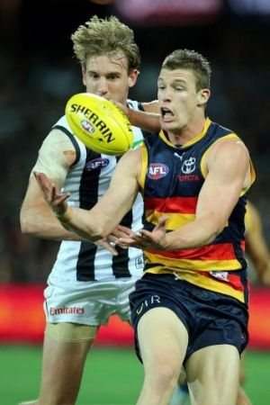 Josh Jenkins of the Crows in action during the round nine match between the Adelaide Crows and the Collingwood.