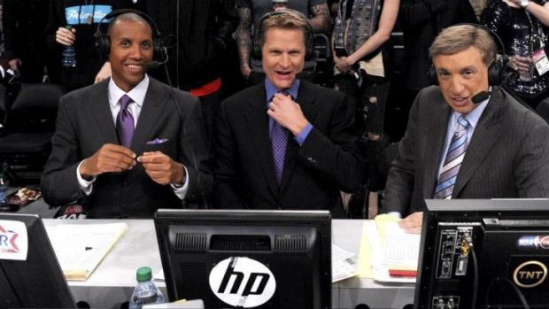 Golden State Warriors incoming coach Steve Kerr surrounded by television co-commentators Reggie Miller and Marv Albert.