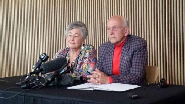 Lois and Juris Greste speak at the ABC headquarters in South Brisbane on Friday.
