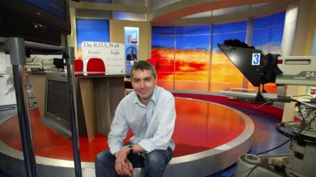 Adam Boland on the Sunrise set, before he parted ways with Channel Seven.