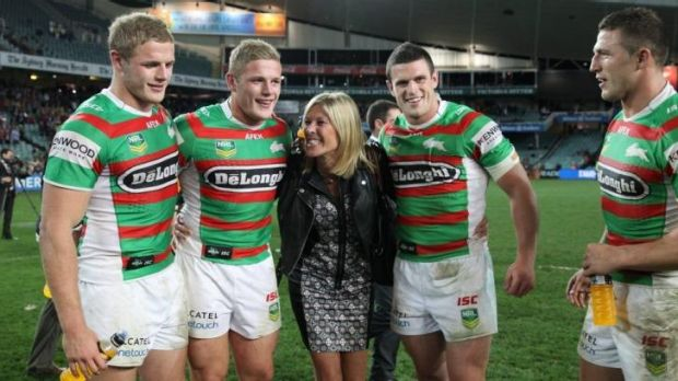 The four Burgess brothers with their mother Julie. She'd go and watch them do anything, ballroom dancing included.