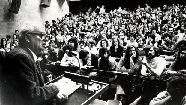 Students at Monash in the 1970s being addressed by Wilfred Burchett.