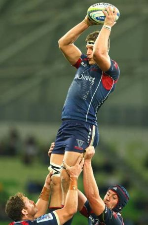 Luke Jones leaps high to take the ball in the lineout.