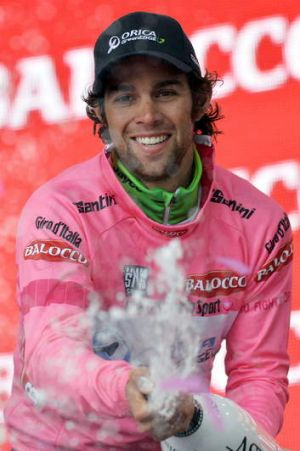Michael Matthews celebrates on the podium after winning the sixth stage of the Giro d'Italia.
