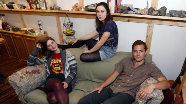 Good Samaritans ... from left, Lara Russo, Cally Guasti and Reese Werkhoven sit on the second-hand couch that hid ...