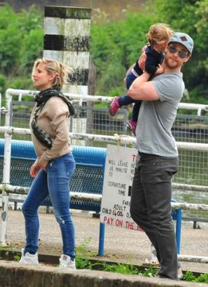 Chris Hemsworth and Elsa Pataky with daughter India.