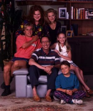 Hughes with the cast of <i>Hey Dad!</i> (clockwise from left) Ben Oxenbould, Julie McGregor, Rachael Beck, Angela Keep ...