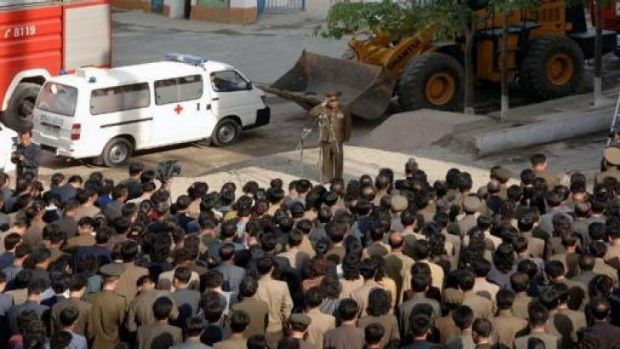 A North Korean construction division officer apologises to residents following a serious accident at the construction ...
