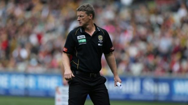 Richmond coach Damien Hardwick during the game against Melbourne on Saturday,