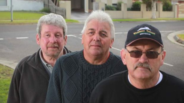 Ged Taylor (left), Brian Norton and Kevin Bush, all in their sixties and replaced by outsourcing by their employer, ...
