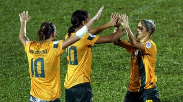 Katrina Gorry (right) celebrates after scoring for the Matildas in their 2-0 win over Vietnam on Sunday.